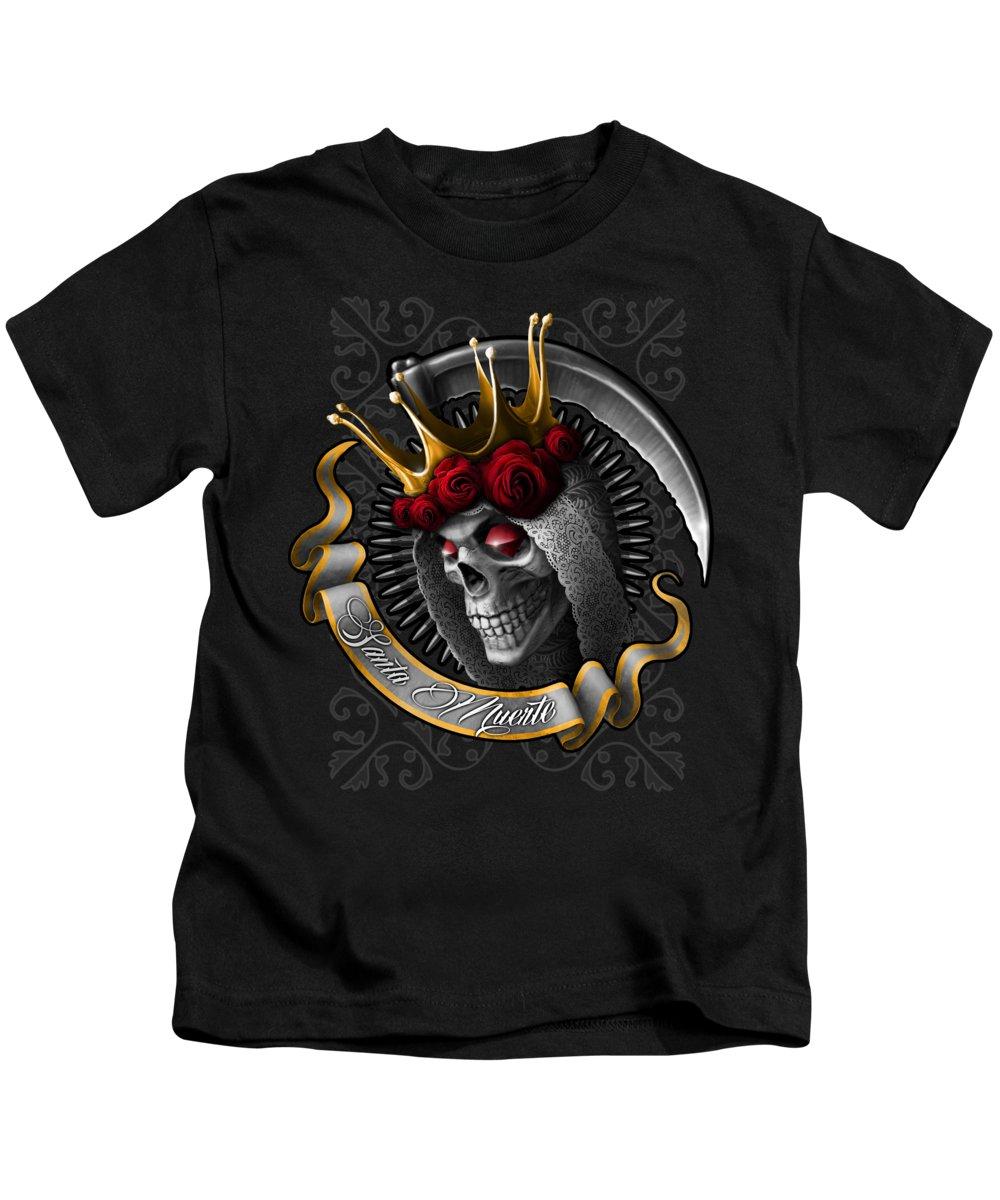 Santa Muerte Kids T-Shirt featuring the digital art Santa Muerte by Syvorov Ilia