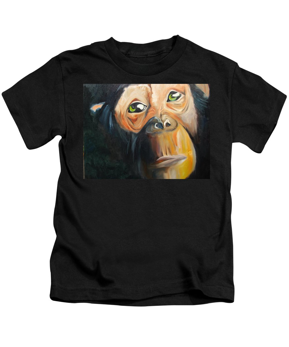 Monkey Kids T-Shirt featuring the painting Soul Of A Monkey by Jeff Hunter