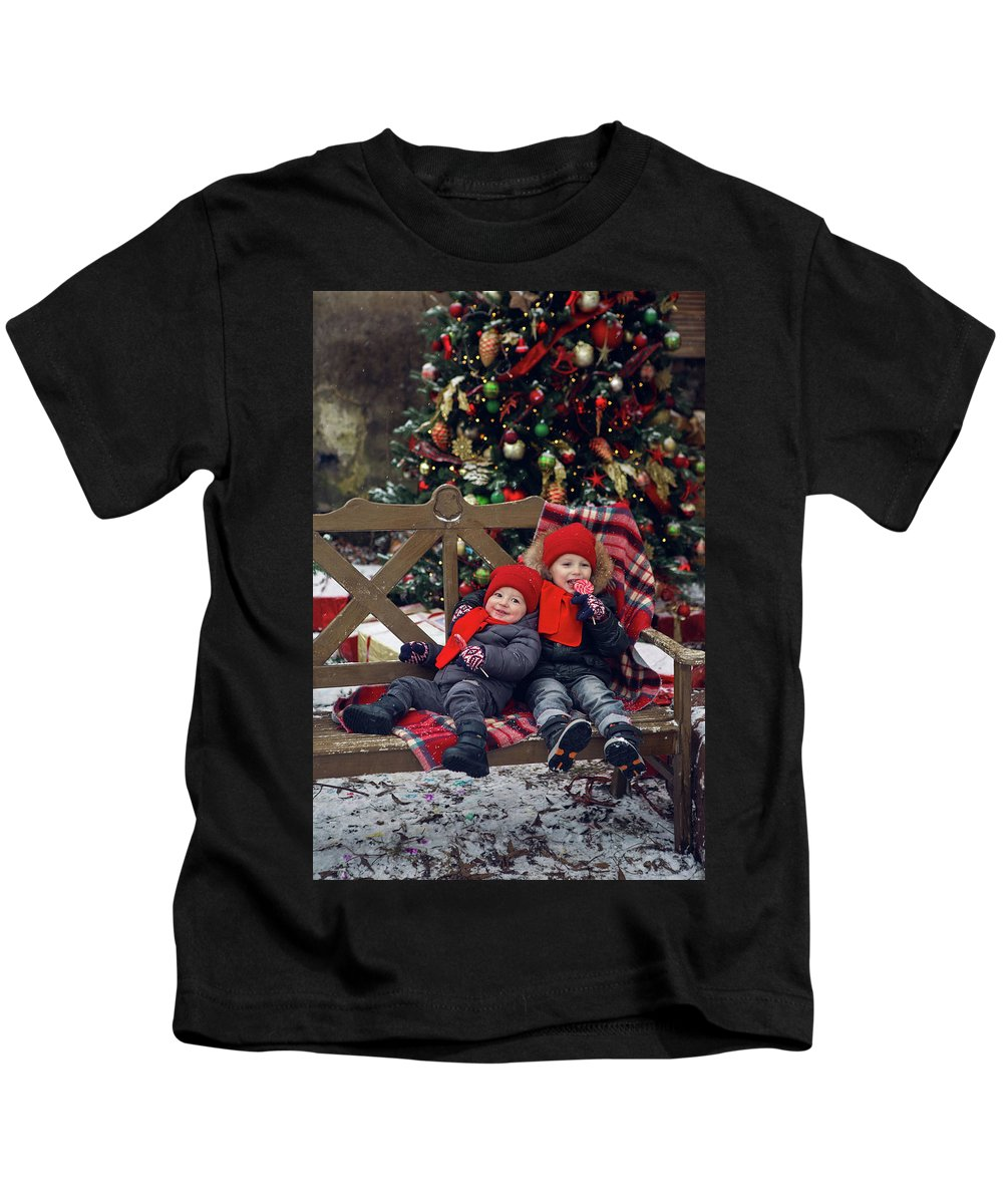 Boy Kids T-Shirt featuring the photograph Two Children Sitting On A Bench With Candy by Elena Saulich