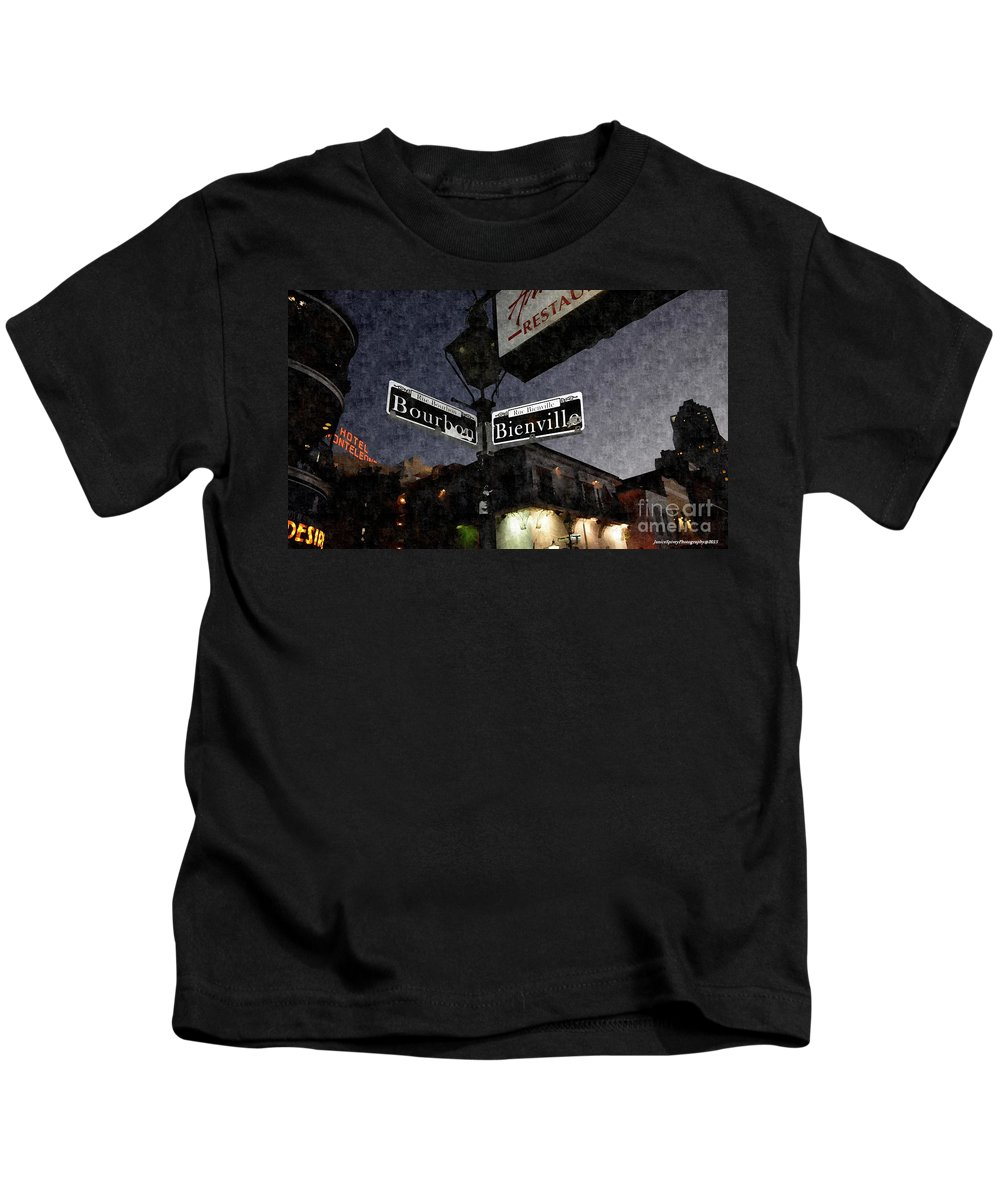 French Quarter Kids T-Shirt featuring the photograph Bourbon Street by Janice Spivey
