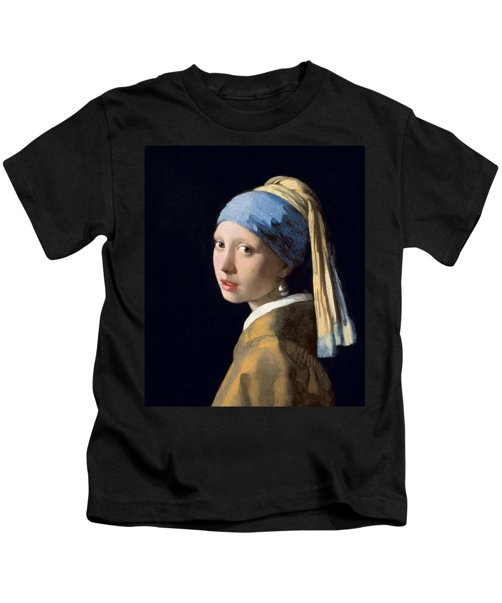 Jan Vermeer Kids T-Shirt featuring the painting Girl With A Pearl Earring by Jan Vermeer