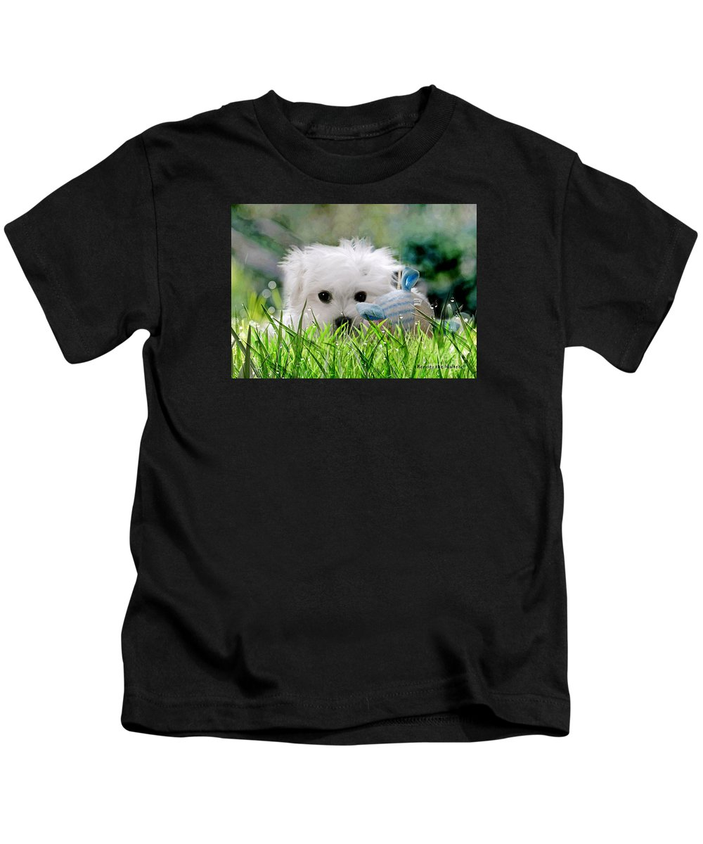 hermes The Maltese Kids T-Shirt featuring the mixed media Hermes The Maltese by Morag Bates