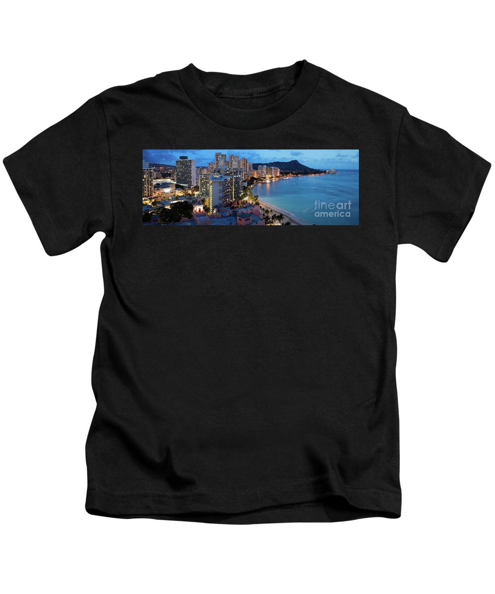 Hawaii Kids T-Shirt featuring the photograph Honolulu Skyline Panorama by Bill Cobb