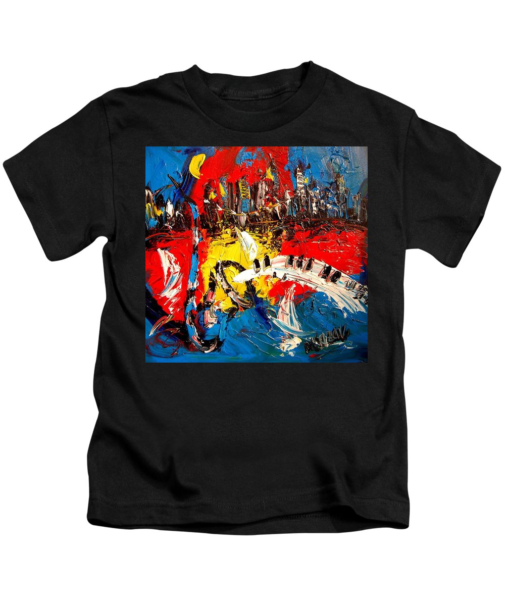 Red Poppies Kids T-Shirt featuring the painting Jazz by Mark Kazav