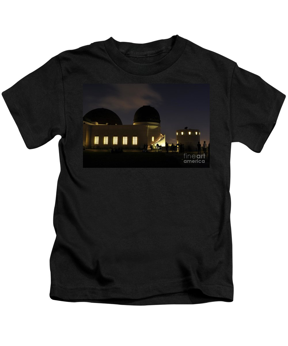 Clay Kids T-Shirt featuring the photograph Night At Griffeth Observatory by Clayton Bruster