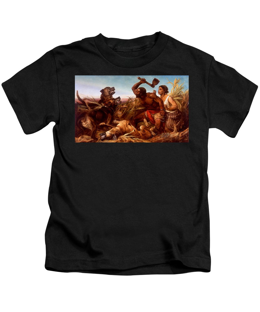 Richard Ansdell - The Hunted Slaves Kids T-Shirt featuring the painting The Hunted Slaves by Richard Ansdell