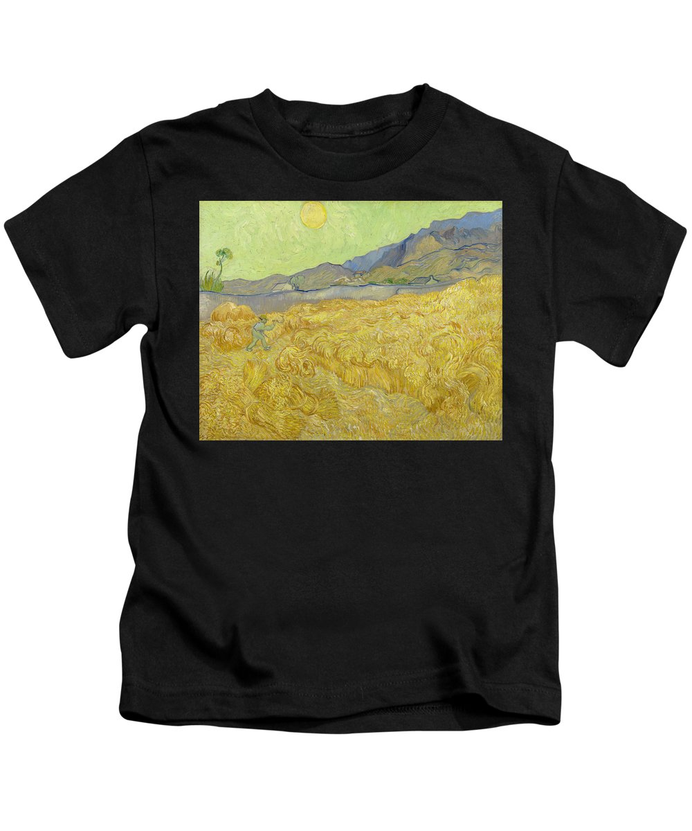 Country Kids T-Shirt featuring the painting Wheatfield With A Reaper by Vincent van Gogh