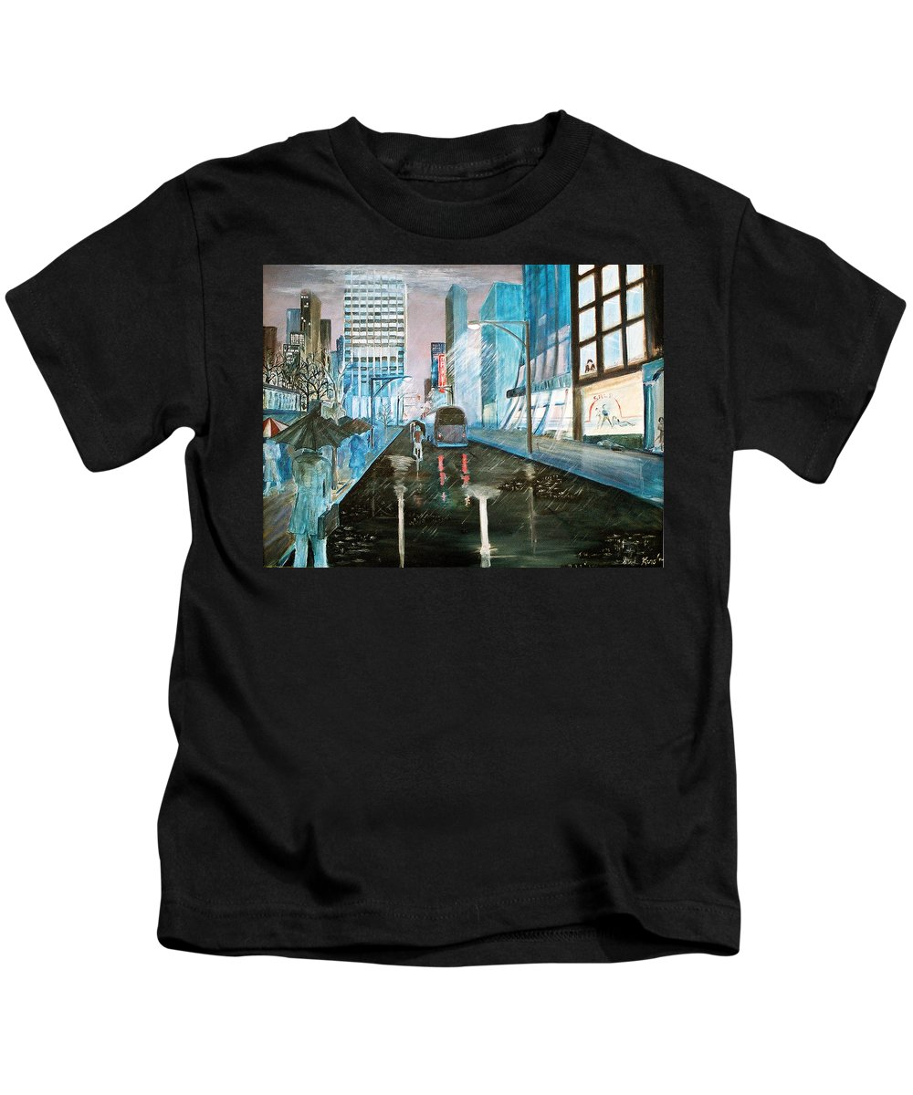 Street Scape Kids T-Shirt featuring the painting 42nd Street Blue by Steve Karol
