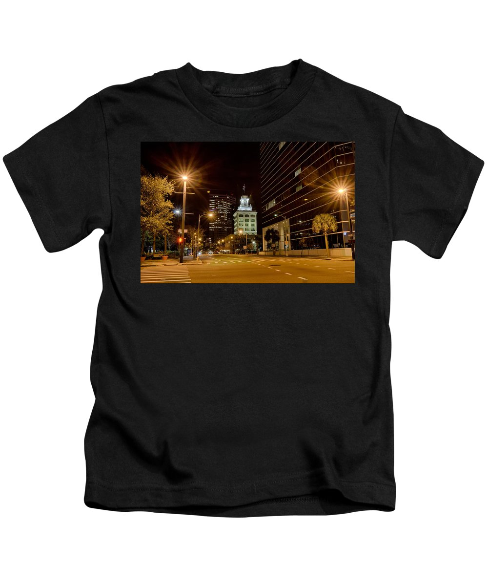 Tampa Kids T-Shirt featuring the photograph Downtown Tampa Florida Skyline At Night by Alex Grichenko