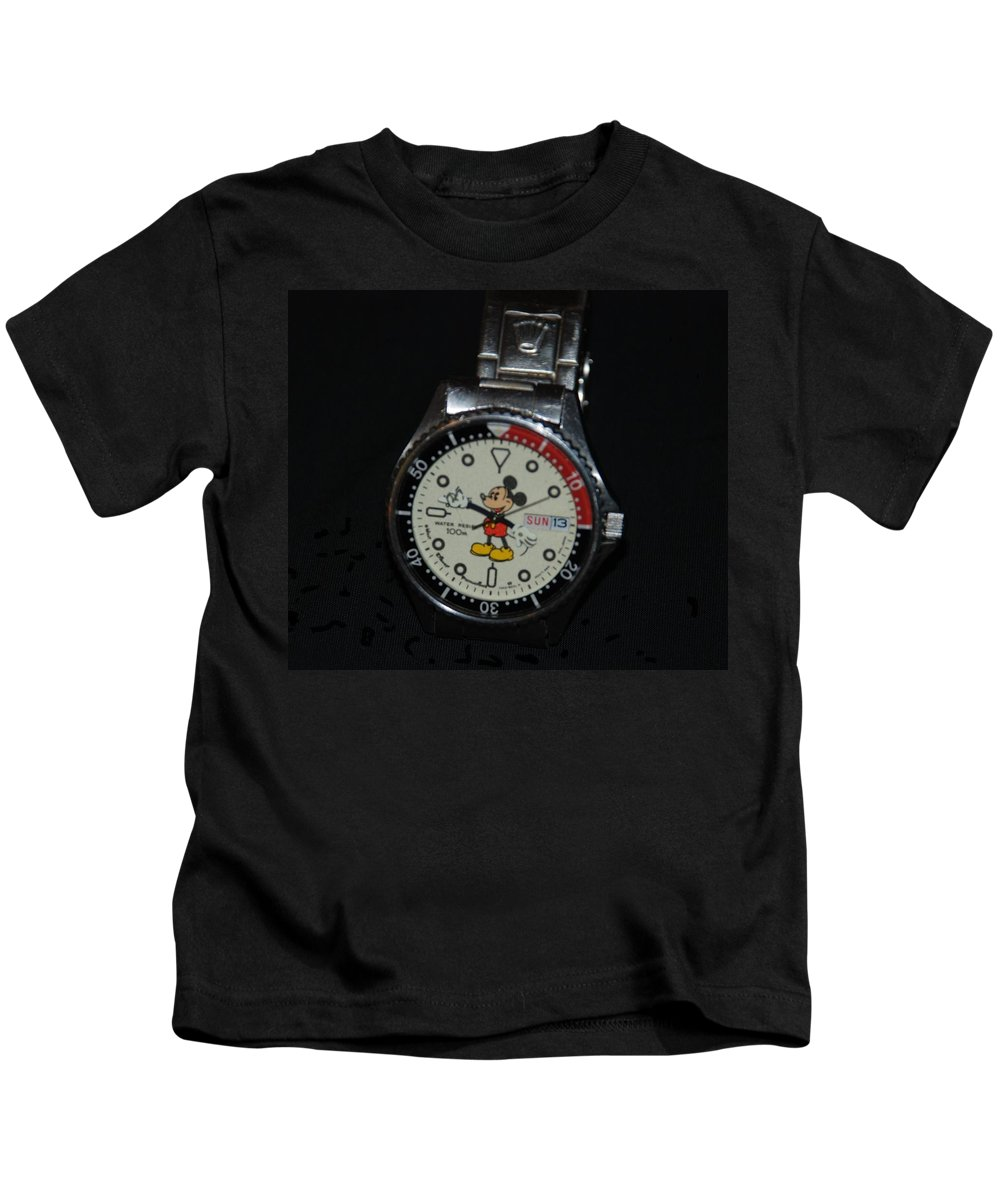 Mickey Mouse Kids T-Shirt featuring the photograph Mickey Mouse Watch by Rob Hans