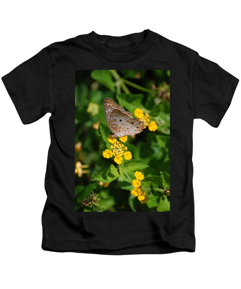 Butterfly Kids T-Shirt featuring the photograph 5 Yellow Flowers And A Buttefly by Rob Hans