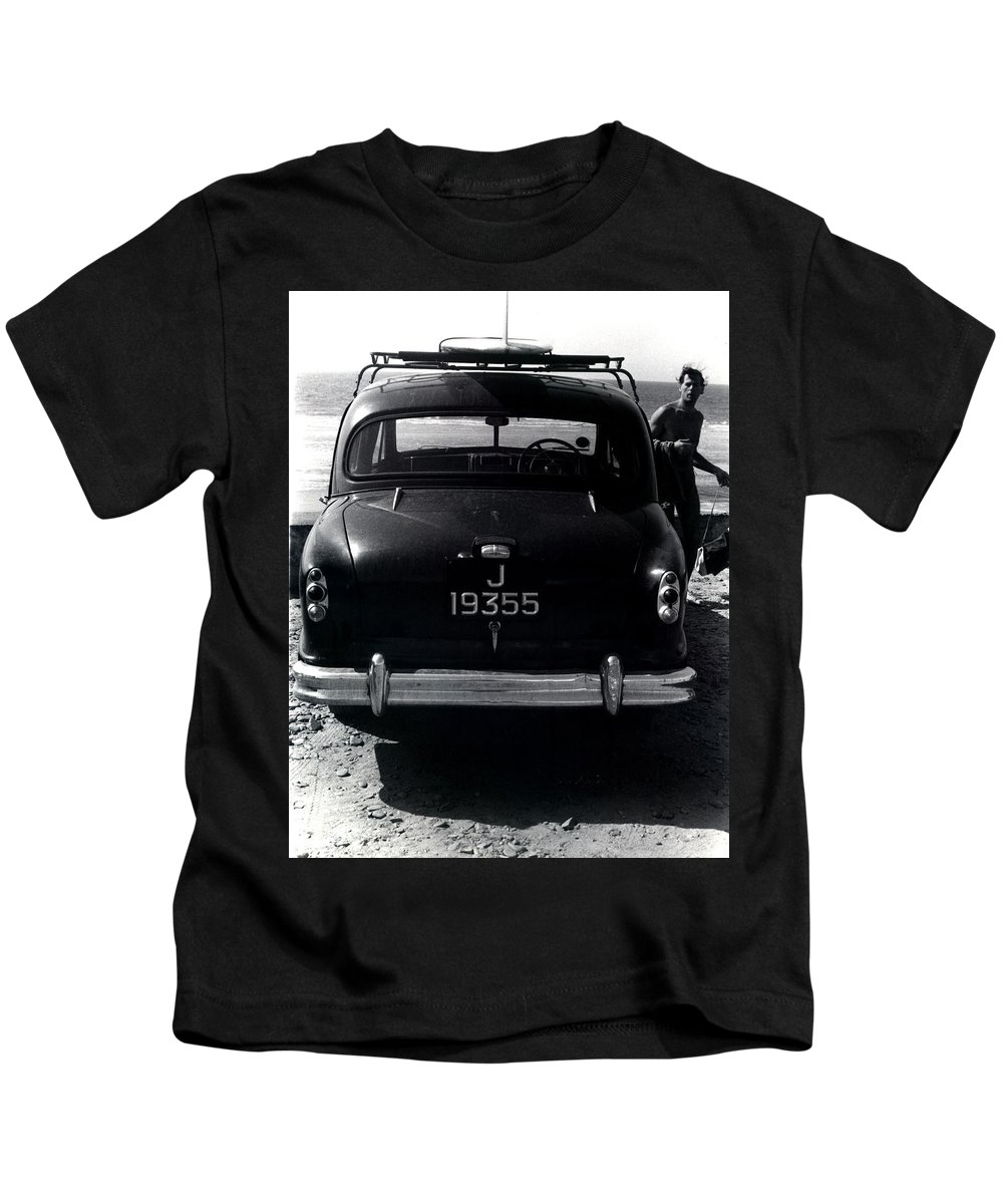 Surf Kids T-Shirt featuring the photograph 50's Surfer by Charles Stuart