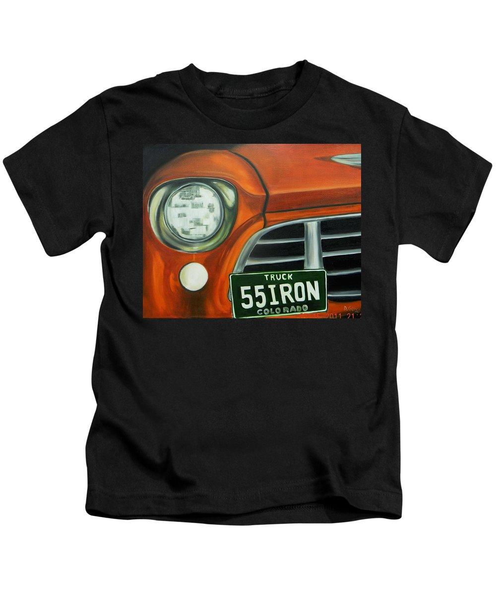 Glorso Art Kids T-Shirt featuring the painting 55 Iron by Dean Glorso