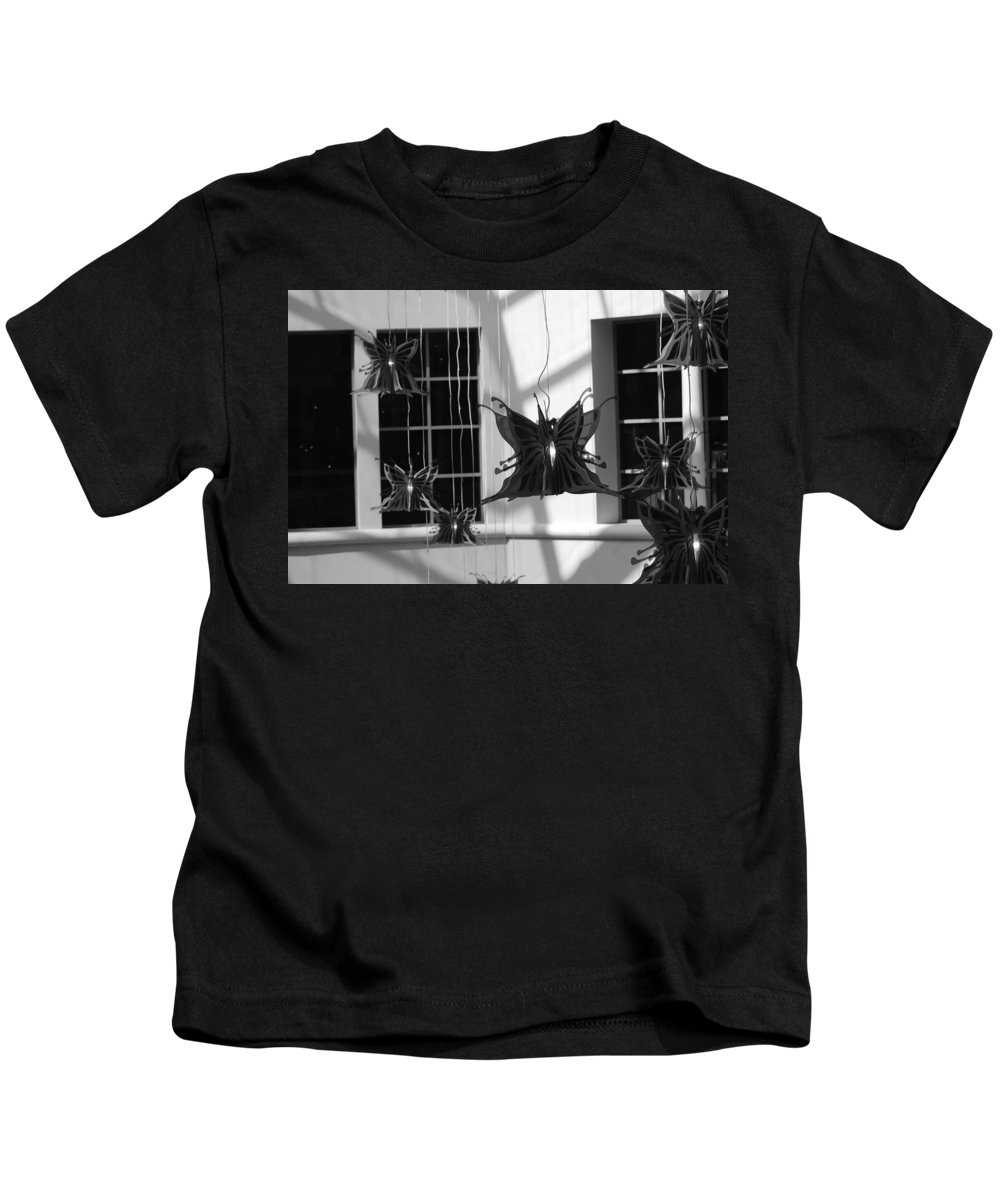 Black And White Kids T-Shirt featuring the photograph Hanging Butterflies by Rob Hans