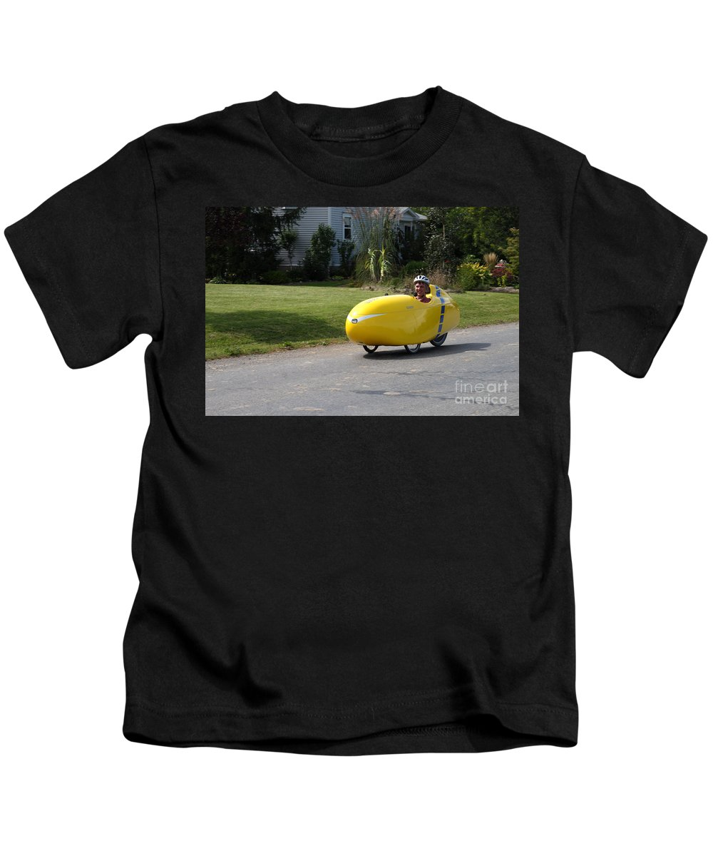 Human Powered Kids T-Shirt featuring the photograph Velomobile by Ted Kinsman