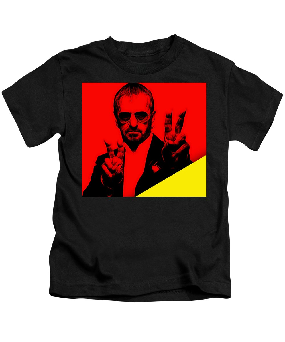 Ringo Starr Kids T-Shirt featuring the mixed media Ringo Starr Collection by Marvin Blaine