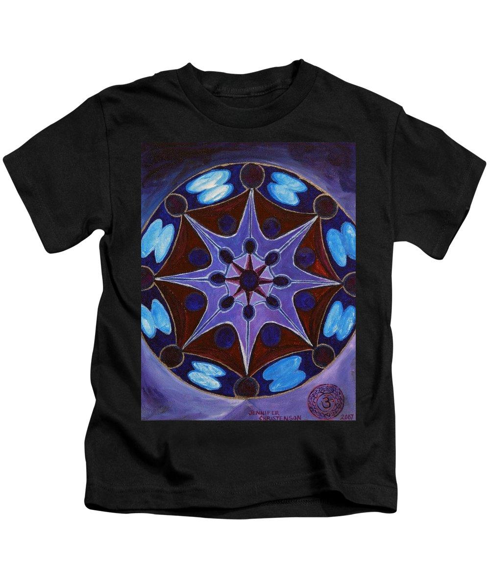 Mandala Kids T-Shirt featuring the painting 7th Mandala - Crown Chakra by Jennifer Christenson
