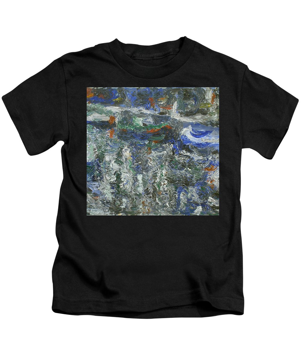 Amsterdam Kids T-Shirt featuring the painting Boats by Robert Nizamov