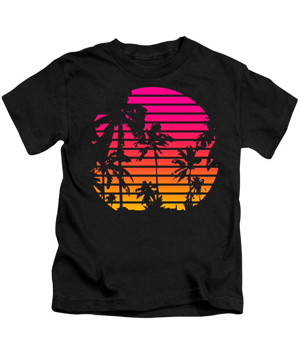 Sun Kids T-Shirt featuring the mixed media 80s Tropical Sunset by Filip Schpindel