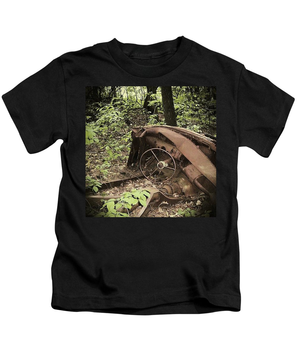 Urban Decay Collection By Serge Averbukh Kids T-Shirt featuring the photograph Abandoned 50s Classic.... by Serge Averbukh