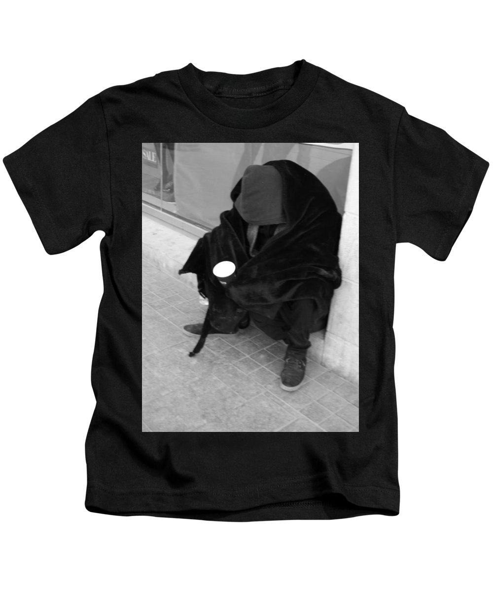 Beggar Kids T-Shirt featuring the photograph A Beggar In Jerusalem by Esther Newman-Cohen