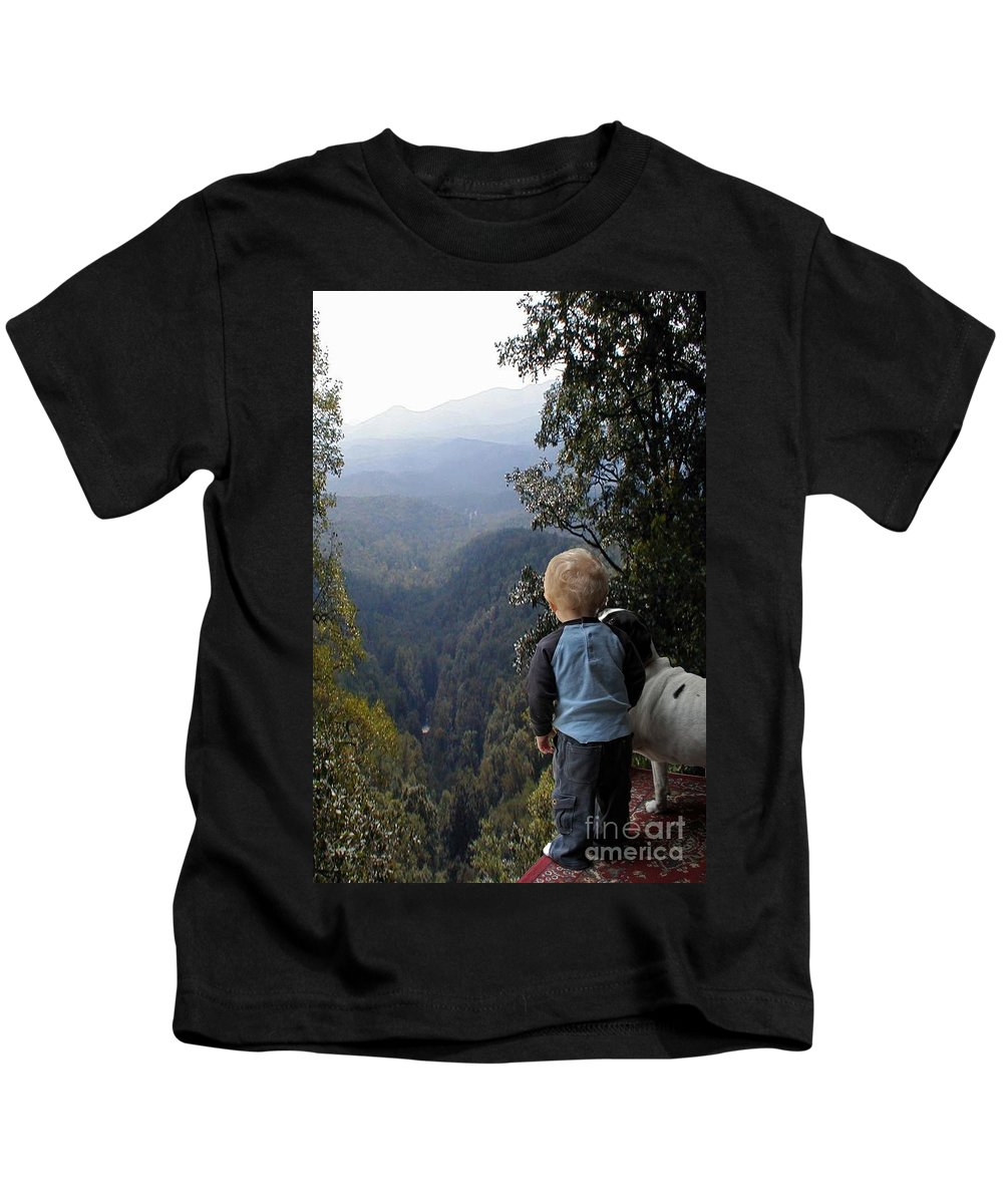 Boy Kids T-Shirt featuring the photograph A Boy And His Dog by Robert Meanor