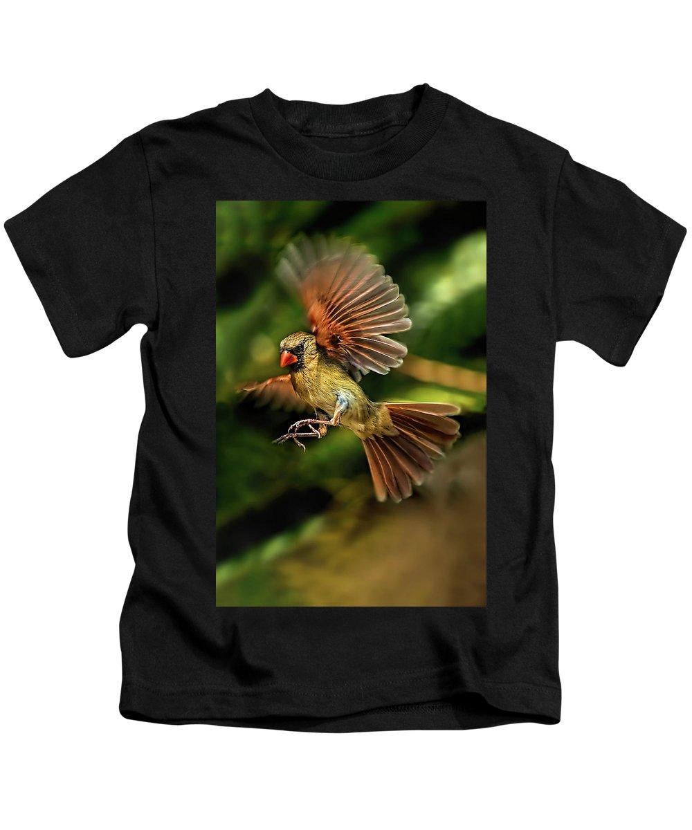 Cardinal Kids T-Shirt featuring the photograph A Cardinal Approaches by Kay Brewer