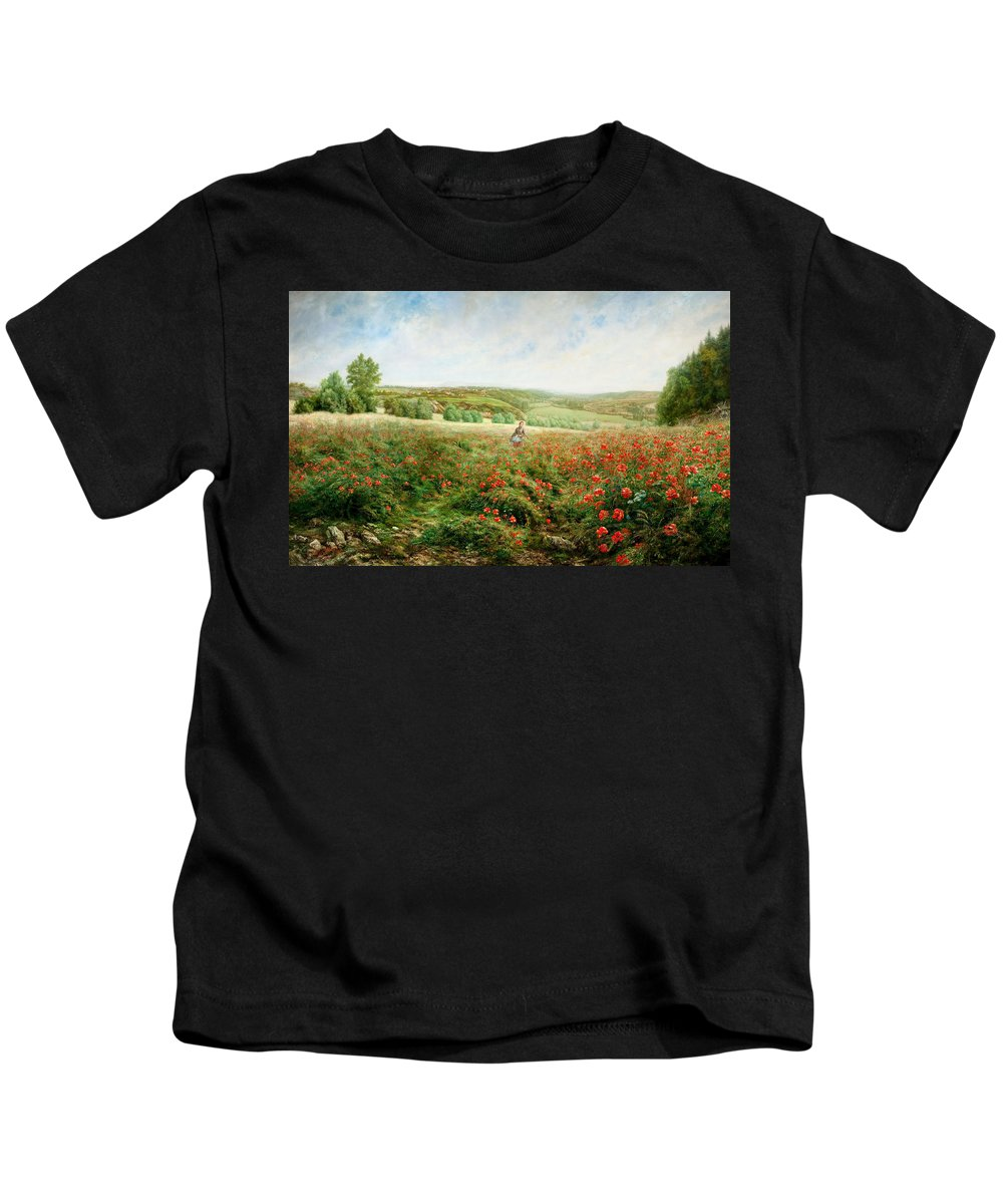 Pierre Arthur Gaillard Kids T-Shirt featuring the painting A Corner Of The Field In Bloom by MotionAge Designs