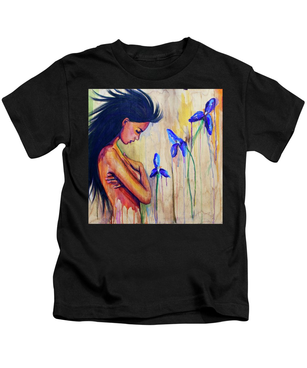 Flowers Kids T-Shirt featuring the painting A Different Kind Of Blue by Jasleni Brito