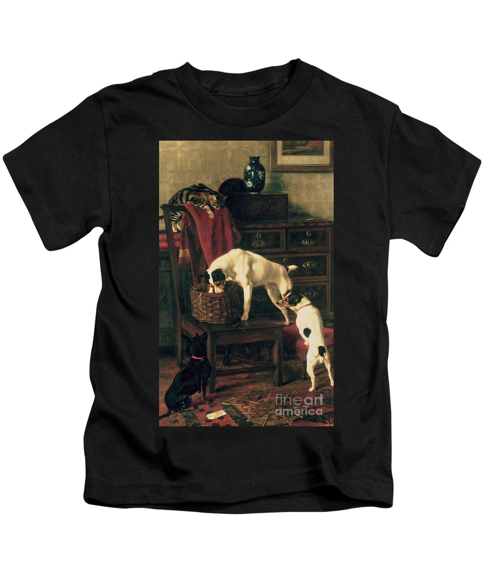 A Discreet Inquiry: Don't Disturb Me At The Royal Academy Kids T-Shirt featuring the painting A Discreet Inquiry by Rupert Arthur Dent