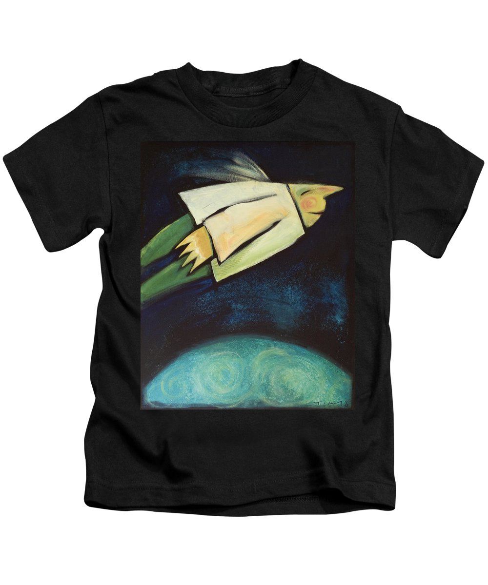 Universe Kids T-Shirt featuring the painting A Finger Two Dots Then Me by Tim Nyberg