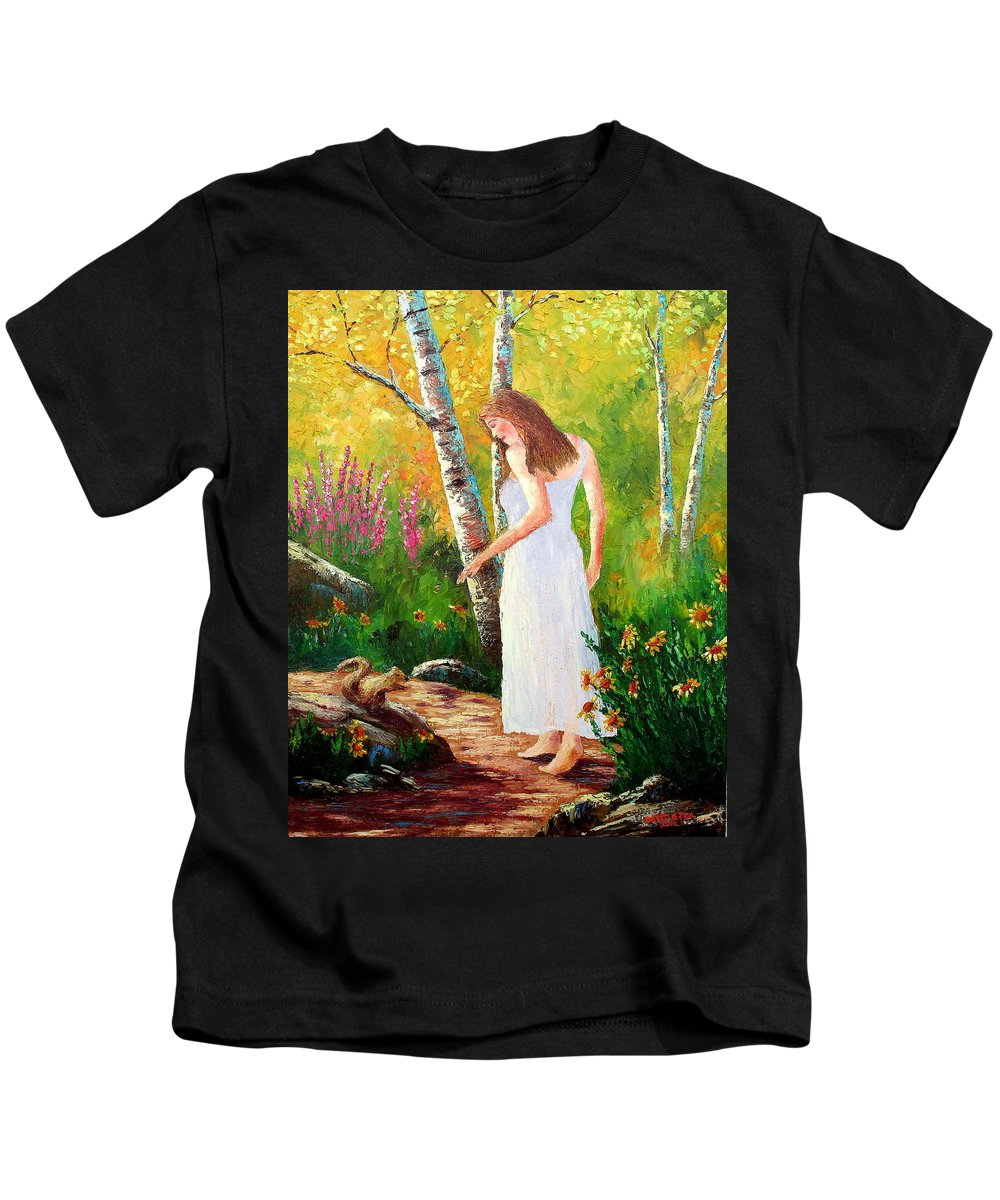 Landscape Kids T-Shirt featuring the painting A Friendly Greeting by David G Paul