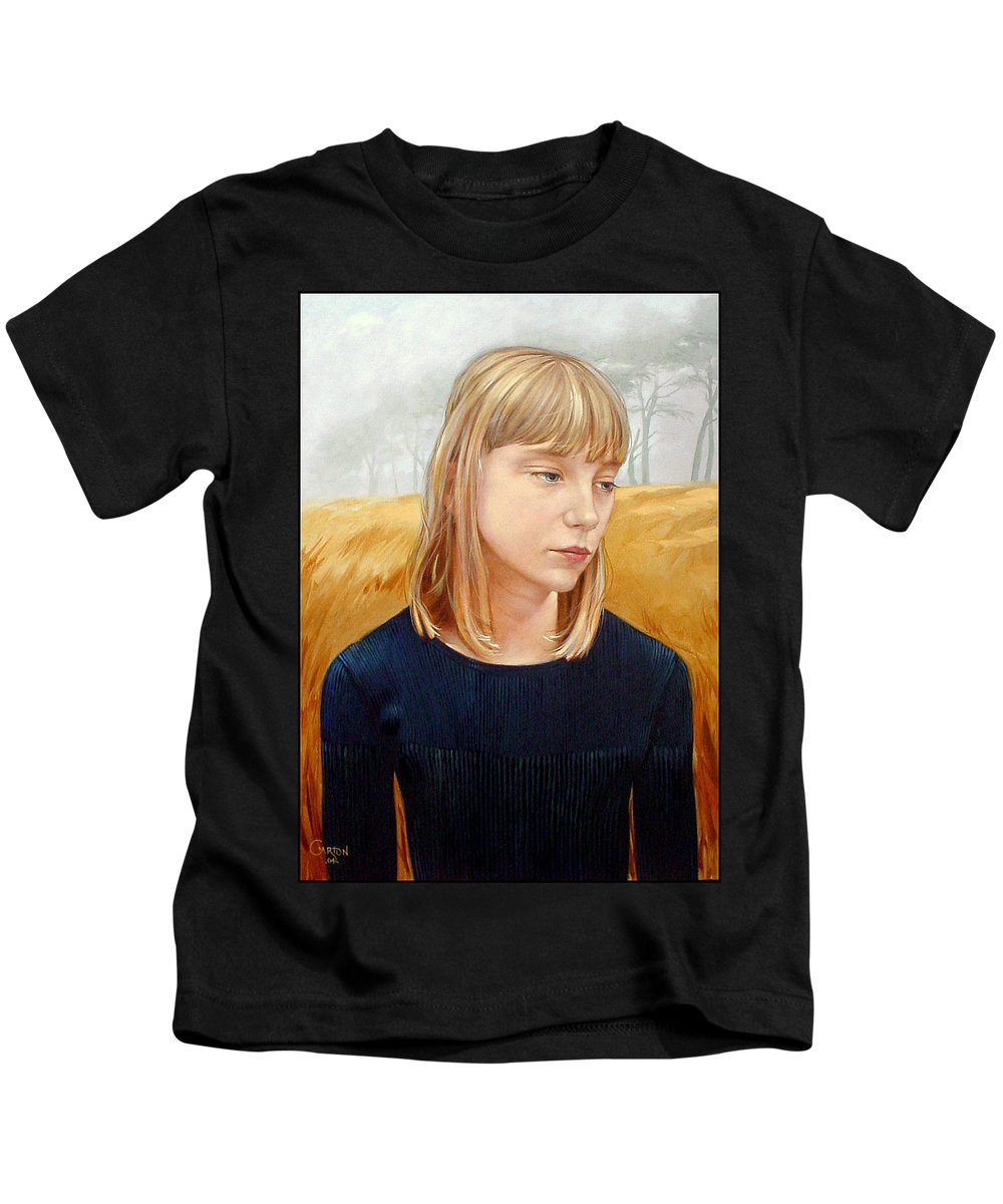 Girl Kids T-Shirt featuring the painting A Gang Of Crows by Jerrold Carton