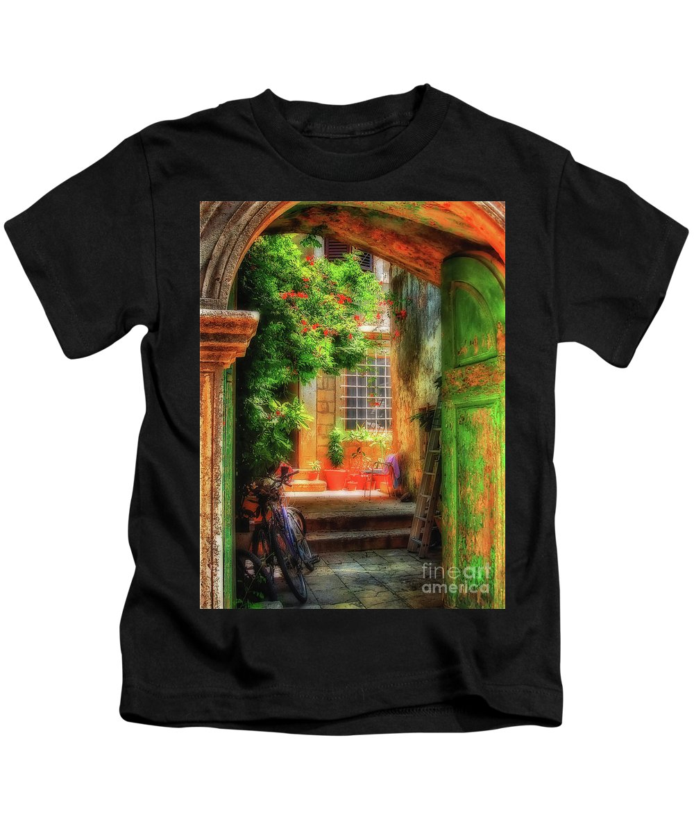 Doorway Kids T-Shirt featuring the photograph A Glimpse by Lois Bryan