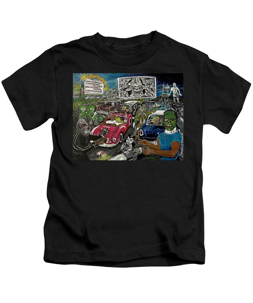 American International Pictures A.i.p. Drive-in Theater Kids T-Shirt featuring the painting A I P Monster Movie Marathon At The Twilight Drive - In La Porte Indiana by Jonathan Morrill
