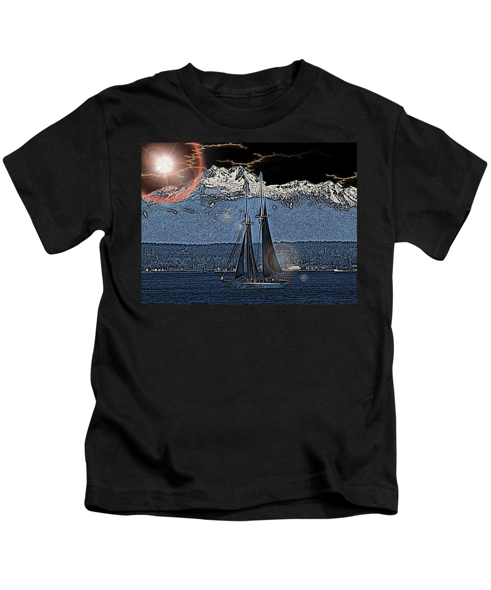 Sail Kids T-Shirt featuring the digital art A Lightshow To Remember by Tim Allen