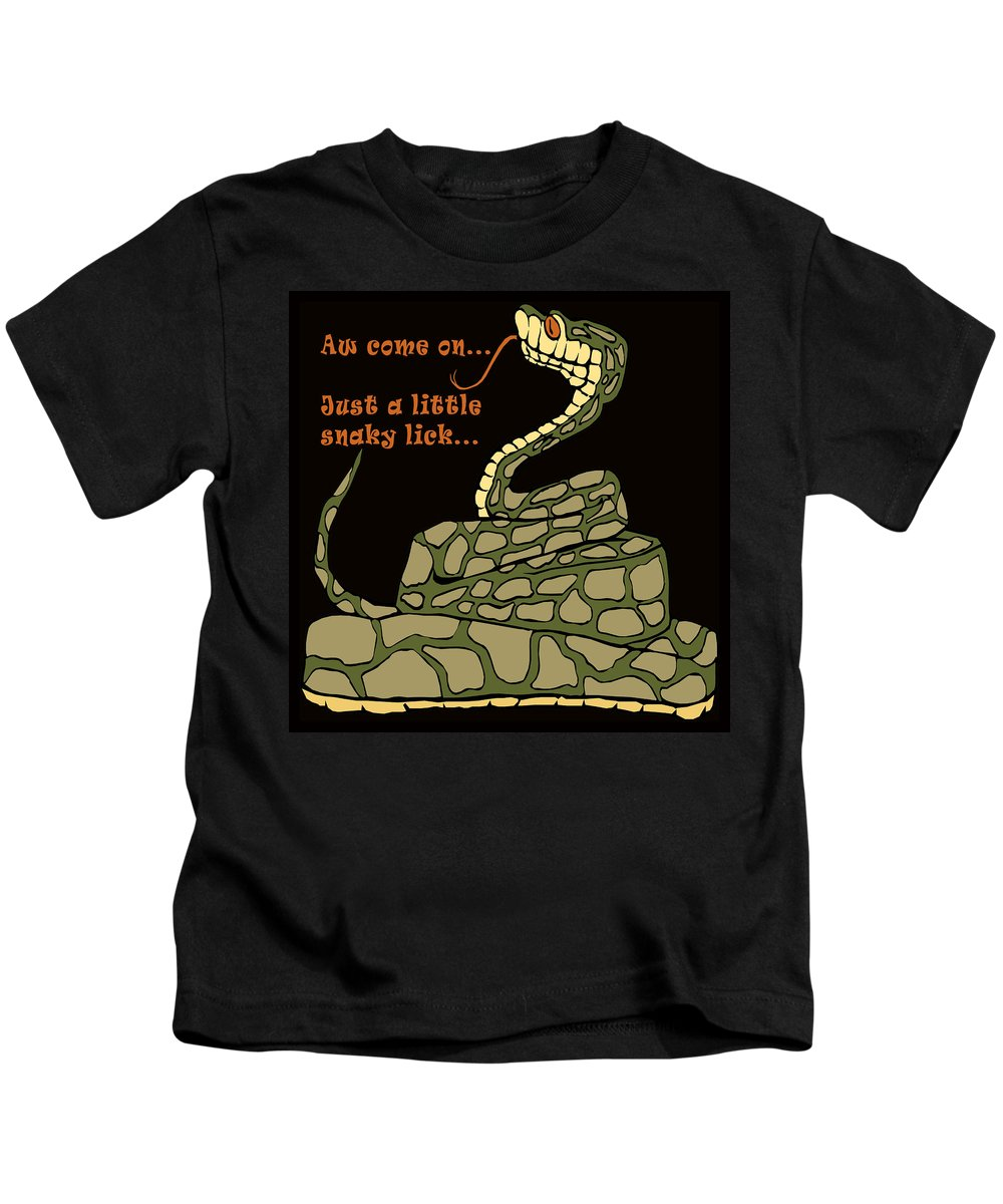 A Little Snaky Lick Kids T-Shirt featuring the painting A Little Snaky Lick by Unknown