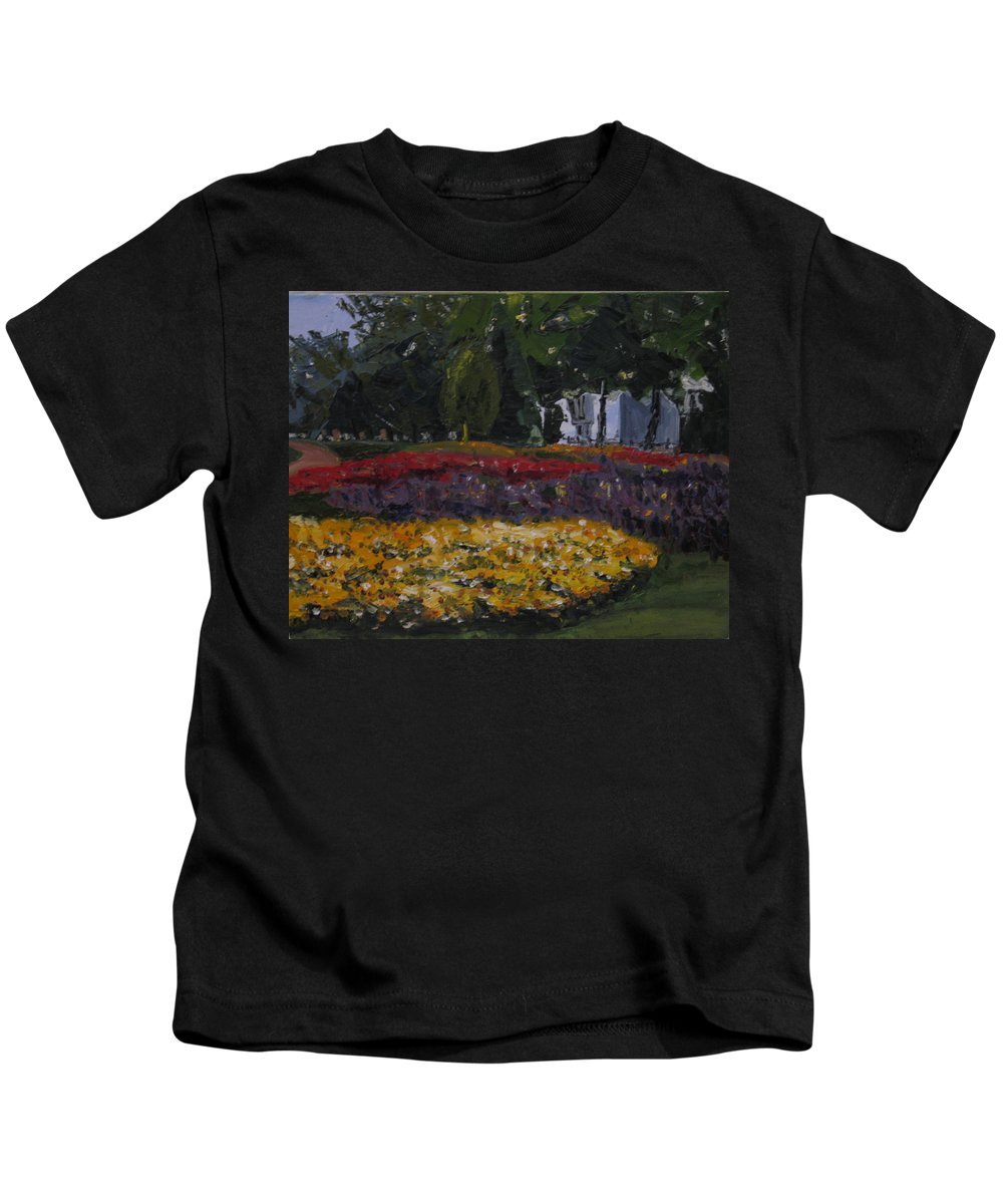 Landscape Kids T-Shirt featuring the painting A Park In Cambrige by Piety Choi