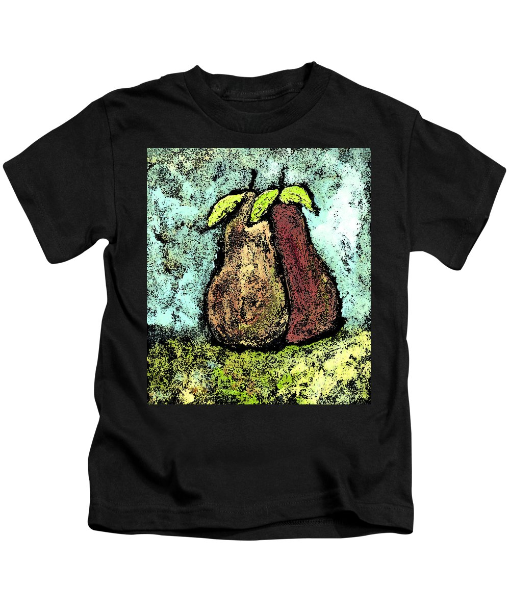 Pears Kids T-Shirt featuring the painting A Pear Pair by Wayne Potrafka