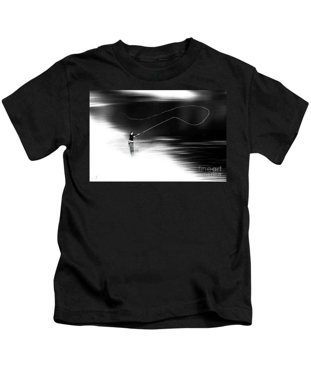 Fly Fisching Kids T-Shirt featuring the photograph A River Runs Through It by Hannes Cmarits