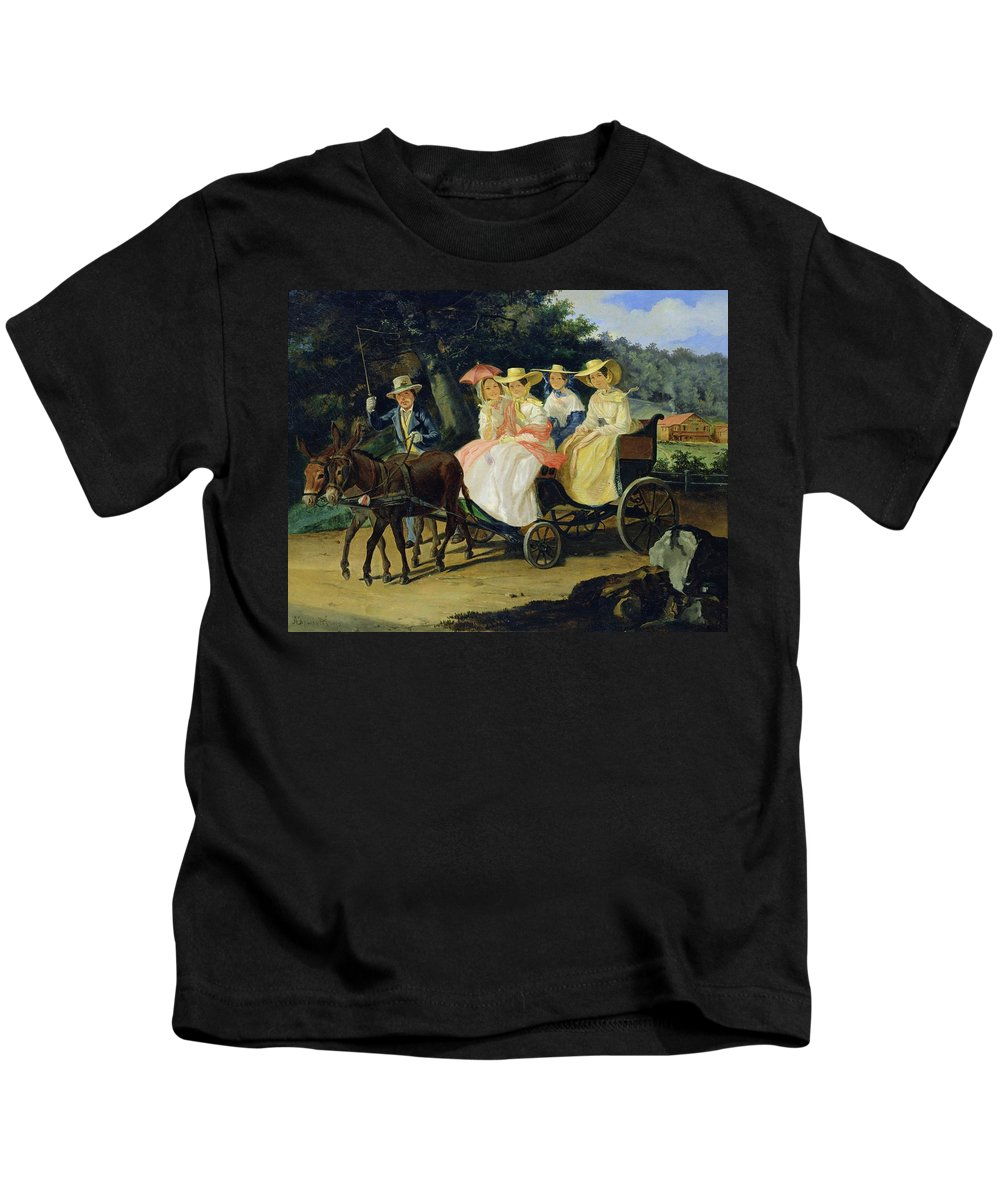 Run Kids T-Shirt featuring the painting A Run by Aleksandr Pavlovich Bryullov