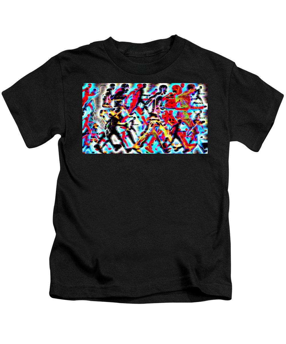 Digital Art Prints Kids T-Shirt featuring the digital art A Running Money Life by NF-Design Frique