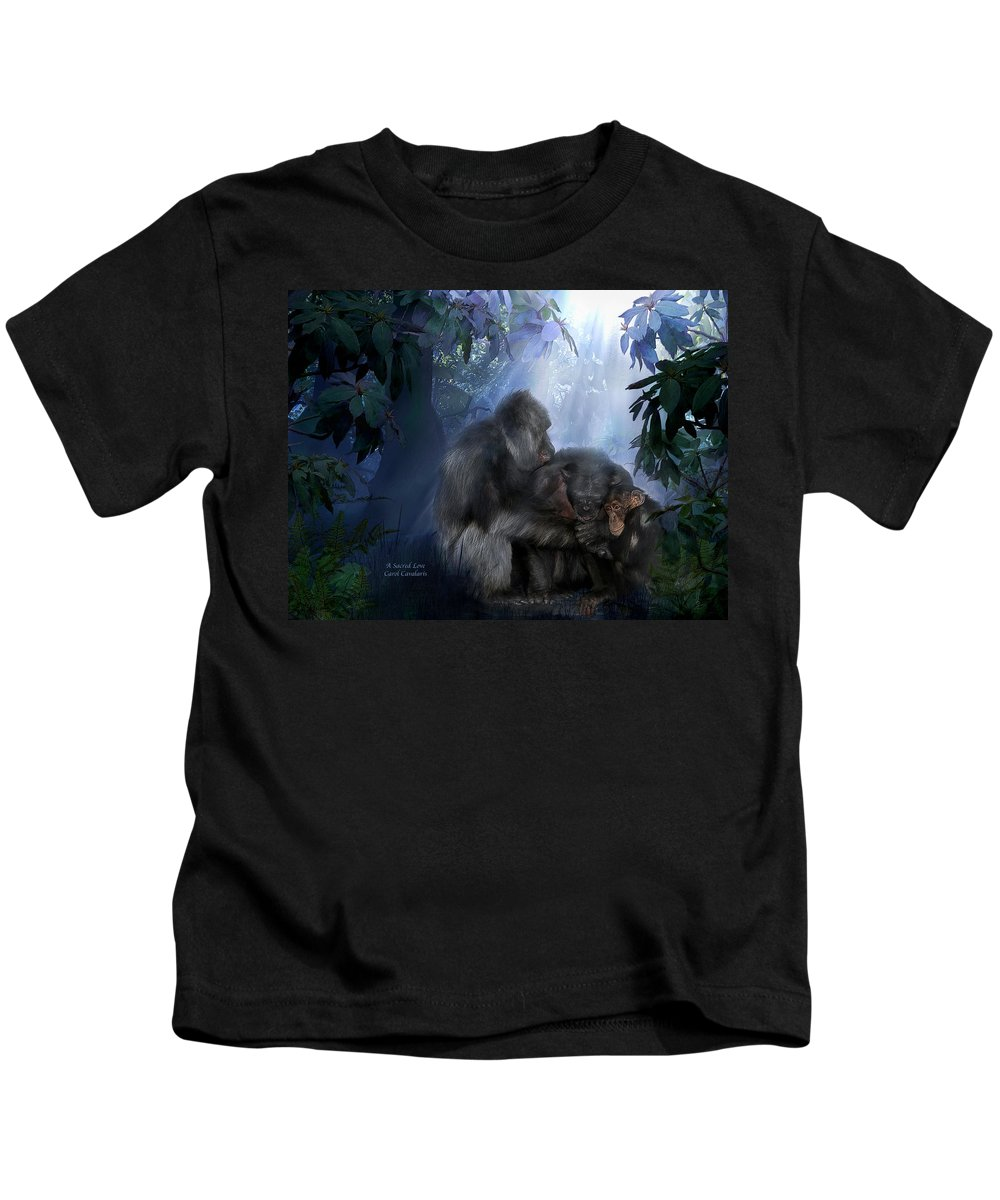 Gorilla Kids T-Shirt featuring the mixed media A Sacred Love by Carol Cavalaris