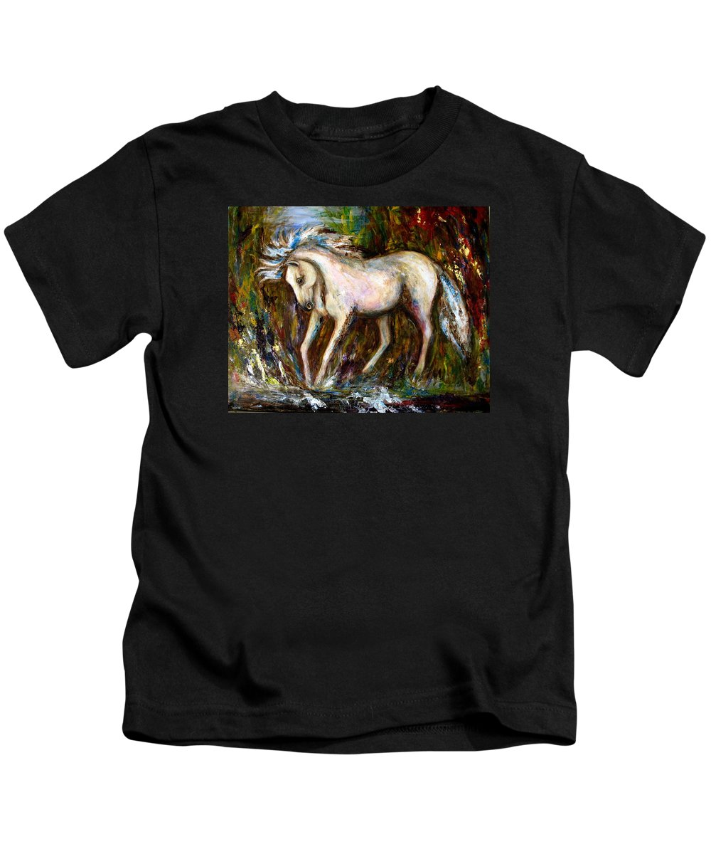 Horse Painting Kids T-Shirt featuring the painting A Secret Place White Hores Painting by Frances Gillotti