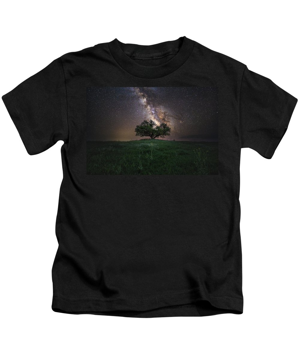 Milky Way Kids T-Shirt featuring the photograph A Sky Full Of Stars by Aaron J Groen