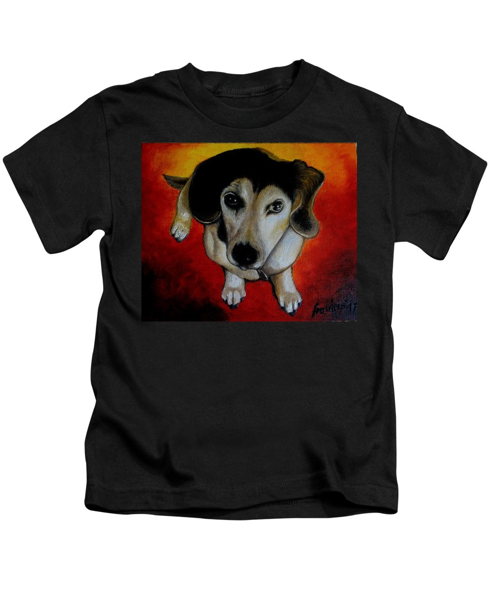 Oil Kids T-Shirt featuring the painting A Sweet Soul by Glory Fraulein Wolfe