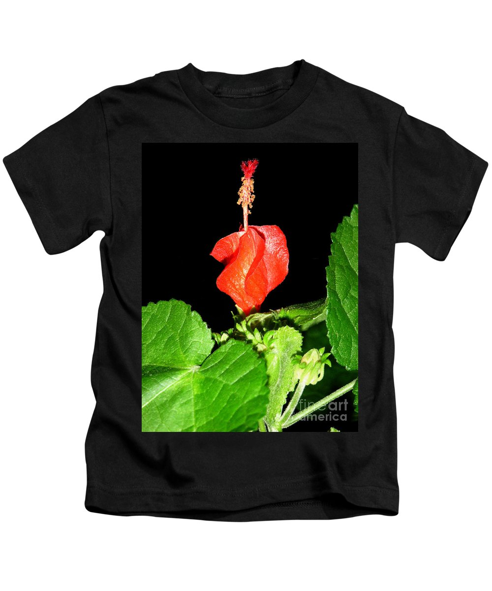 Nature Kids T-Shirt featuring the photograph A Swirl Of Red by Lucyna A M Green