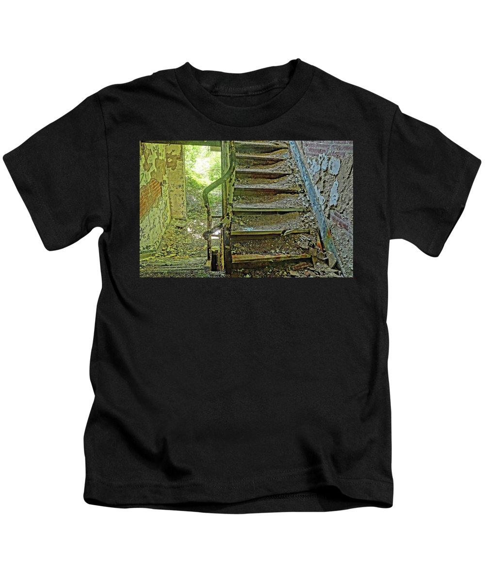 Stairs Kids T-Shirt featuring the photograph A Time Forgotten by Derek Casper