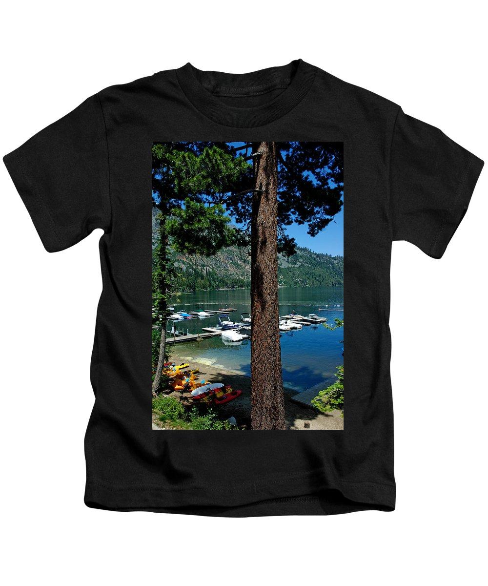 Usa Kids T-Shirt featuring the photograph A Trees View Of Fallen Leaf Lake by LeeAnn McLaneGoetz McLaneGoetzStudioLLCcom