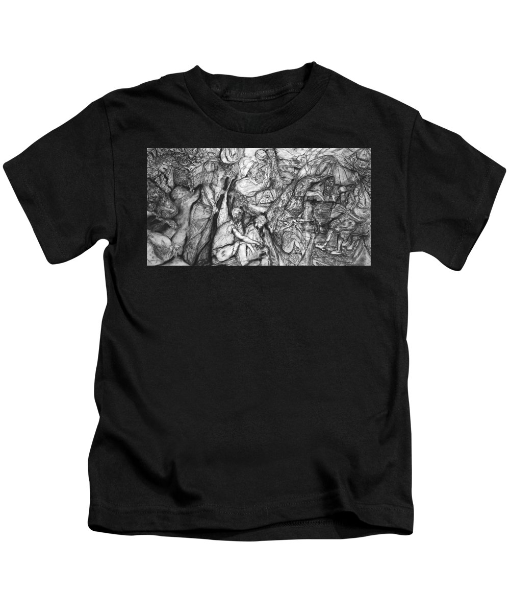 African Art Kids T-Shirt featuring the drawing A Village by Arlene Rabinowitz